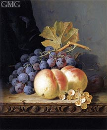 Still Life with Peaches, Grapes and Whitecurrants, undated von Edward Ladell | Gemälde-Reproduktion
