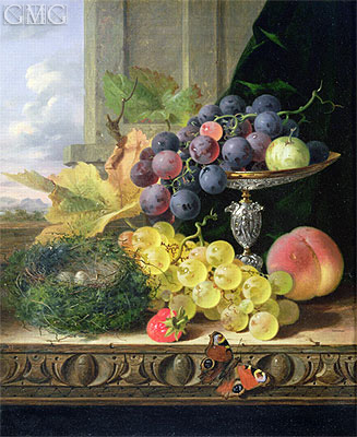 Still Life of Fruit, a Tazza and a Bird's Nest, undated | Edward Ladell | Painting Reproduction