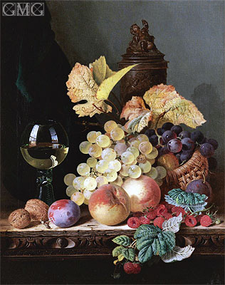Still Life with Peaches, Plums, Grapes and Walnuts, undated | Edward Ladell | Gemälde Reproduktion
