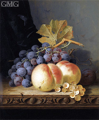 Still Life with Peaches, Grapes and Whitecurrants, undated | Edward Ladell | Painting Reproduction