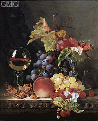 Still Life with a Wine Goblet and Silver Tazza, undated | Edward Ladell | Gemälde Reproduktion