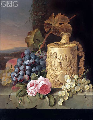 Still Life with Grapes, Roses wnd w Stein on a Marble Ledge, undated | Edward Ladell | Gemälde Reproduktion