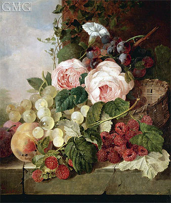 Still Life with Roses, Grapes, Peaches and Raspberries, 1858 | Edward Ladell | Gemälde Reproduktion