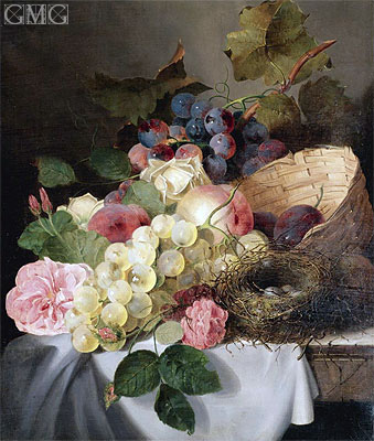 Still Life with Peaches, Grapes, Roses and a Bird's Nest, 1858 | Edward Ladell | Painting Reproduction