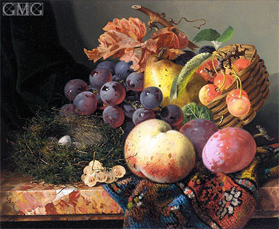 Still Life with Peaches, Plums, Cherries, Grapes a Pear and a Bird's Nest, undated | Edward Ladell | Painting Reproduction