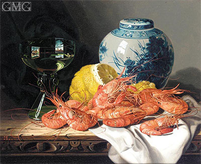 Edward Ladell | Still Life with Prawns, a Lemon, Wine Glass and Delft Pot, undated