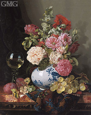 Mixed Flowers in a Chinese Vase with Grapes and a Wine Roemer, undated | Edward Ladell | Gemälde Reproduktion