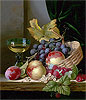 A Basket of Peaches and Grapes with Raspberries and a Roemer on a Wooden Ledge | Edward Ladell