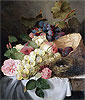 Still Life with Peaches, Grapes, Roses and a Bird's Nest | Edward Ladell