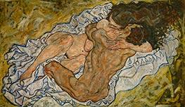 Die umarmung (Liebespaar II), 1917 von Schiele   Gemälde-Reproduktion