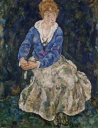 Bildnis der frau des künstlers, Edith Schiele, 1918 von Schiele | Gemälde-Reproduktion