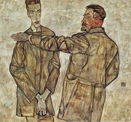 Doppelbildnis Heinrich und Otto Benesch, 1913 von Schiele | Gemälde-Reproduktion