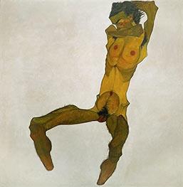Sitzender Männerakt (Selbstdarstellung), 1910 von Schiele | Gemälde-Reproduktion