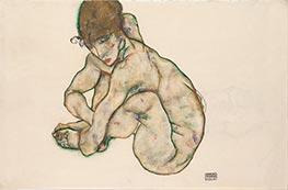 Kauernder Mädchenakt, 1914 von Schiele   Gemälde-Reproduktion