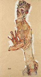 Selbstdarstellung mit gespreizten Fingern, 1911 von Schiele | Gemälde-Reproduktion