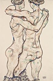 Sich umarmende Mädchenakte, 1914 von Schiele   Gemälde-Reproduktion