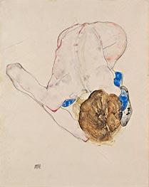 Nach vorn gebeugter Akt mit blauen Strümpfen, 1912 von Schiele   Gemälde-Reproduktion