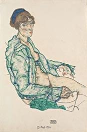 Sitzender Halbakt mit blauem Haarband, 1914 von Schiele   Gemälde-Reproduktion