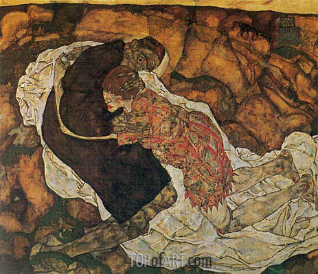 Death and the Maiden, 1915 | Schiele | Gemälde Reproduktion