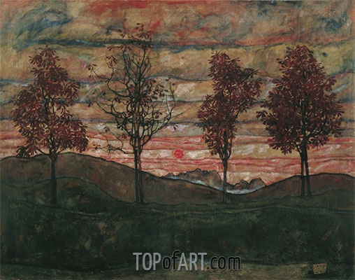 Four Trees, 1917 | Schiele | Painting Reproduction