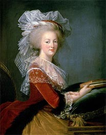 Portrait of Marie Antoinette, undated by Elisabeth-Louise Vigee Le Brun | Painting Reproduction