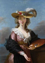 Self Portrait in a Straw Hat, a.1782 by Elisabeth-Louise Vigee Le Brun | Painting Reproduction