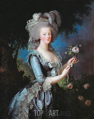 Marie Antoinette with a Rose, 1783 | Elisabeth-Louise Vigee Le Brun| Painting Reproduction