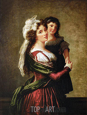 Madame Rousseau and her Daughter, 1789 | Elisabeth-Louise Vigee Le Brun | Gemälde Reproduktion