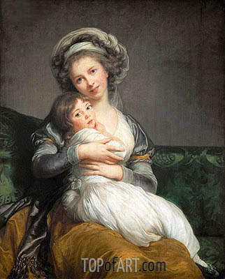 Elisabeth-Louise Vigee Le Brun | Self Portrait in a Turban and her Daughter Julie, 1786