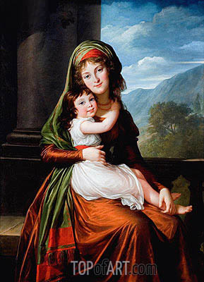 The Countess von Schonfeld with Her Daughter, 1793 | Elisabeth-Louise Vigee Le Brun | Painting Reproduction