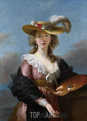 Self Portrait in a Straw Hat, a.1782 | Elisabeth-Louise Vigee Le Brun | Painting Reproduction