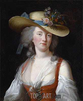 Elisabeth-Louise Vigee Le Brun | Portrait of Anne Catherine Le Preudhomme de Chatenoy, Comtesse de Verdun, as a Beautiful Gardener, 1788