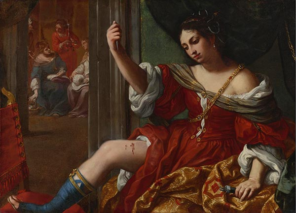 Portia Wounding Her Thigh, 1664 | Elisabetta Sirani | Painting Reproduction