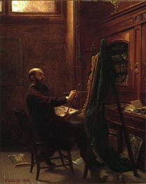 Worthington Whittredge in his Tenth Street Studio, 1865 by Leutze | Painting Reproduction