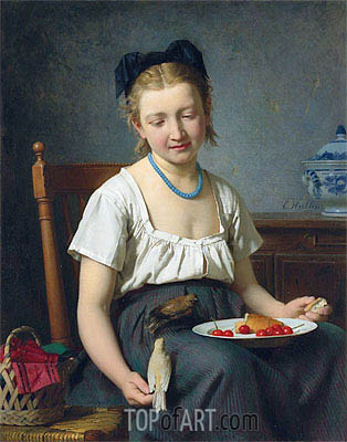 The Snack, 1870 | Emile Auguste Hublin| Painting Reproduction