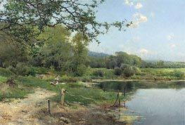 A Picnic on the Riverbank, 1886 von Emilio Sanchez-Perrier | Gemälde-Reproduktion
