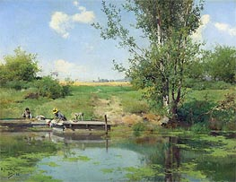 Laundry at the Edge of the River, 1882 von Emilio Sanchez-Perrier | Gemälde-Reproduktion