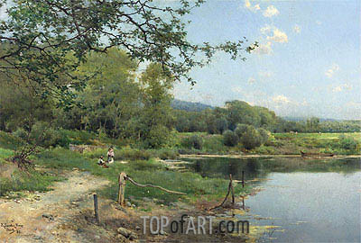 A Picnic on the Riverbank, 1886 | Emilio Sanchez-Perrier | Painting Reproduction