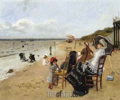 Mother and Daughter on the Beach, 1885 | Ernest-Ange Duez | Gemälde Reproduktion