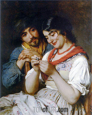 The Seamstress, 1884 | Eugen de Blaas | Painting Reproduction