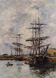 Deauville, Ships at Dock | Eugene Boudin | Painting Reproduction