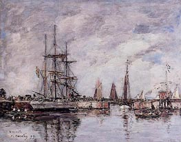 Deauville, Norwegian Three-Master Leaving Port, 1897 von Eugene Boudin | Gemälde-Reproduktion