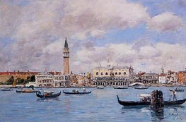 Venice - The Campanile, the Ducal Palace, 1895 von Eugene Boudin | Gemälde-Reproduktion