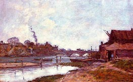 Bridge on the River Touques at Deauville, 1895 by Eugene Boudin   Painting Reproduction
