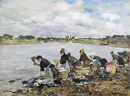 Laundresses on the Banks of the Touques, 1895 by Eugene Boudin   Painting Reproduction