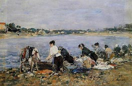 Laundresses, 1895 by Eugene Boudin   Painting Reproduction