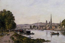 Rouen, View over the River Seine, 1895 by Eugene Boudin   Painting Reproduction