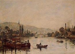 Rouen, the Sante-Catherine Coast, Morning Mist, 1895 by Eugene Boudin   Painting Reproduction