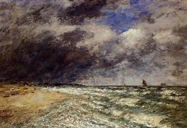 A Squall from Northwest, 1895 by Eugene Boudin   Painting Reproduction