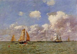Fishing Boats at Sea, 1895 by Eugene Boudin   Painting Reproduction
